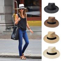 Wholesale Cowboy Hats Ribbon - Fashion Sun Hat Men Women Panama Hat Contrast Color Straw Ribbon Pinched Crown Rolled Trim Summer Floppy Hat Beach Caps Chapeu Praia