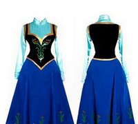 Anime Costumes Cotton Others Wholesale- Snow Queen Princess Anna Made Cosplay Costume For Adult Womens With Cloak Coronation Dress Free Shipping