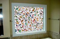 filmes de vidro fosco venda por atacado-3D folhas de galhos de árvore de vidro manchado filme estático filme janela para banheiro fosco janela de privacidade decoração filme decalque