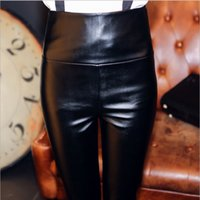 Wholesale Shiny Pants Women Tight - 7008 Women Tight Pants Faux Leather Legging Stretchy Soft Comfortable Trousers Sexy Girls PU Best Tight Leg wear Shiny Tights Legging Black