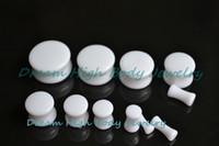 Wholesale Styles Body Jewelry - Newest Style White Acrylic Double Flared Flesh Plug PMMA Ear Plug Piercing Expander Fashion Body Jewelry 3-20mm Free Shipping