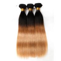 Wholesale 5pcs Hair Weave - Ombre Human Hair Extensions Virgin Brazilian Hair Bundles Weaves Two Tone Peruvian Indian Malaysian Mongolian Mink Weaving Hair Wefts 3-5pcs
