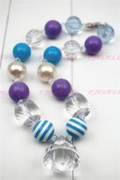 Lake Blue Cute Candy Beads Multicolor Chunky Bubblegum Kids Colar infantil doce QUENTE CB041