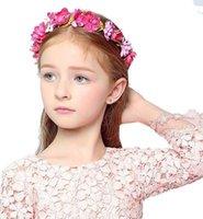 bohem saç takıları toptan satış-3D Bohemian Tatlı Kız Çiçek Düğün Gelin Tiaras Saç Aksesuarları Çiçekler Bandı Kadınlar / Kız Parti Hediye Çiçek Saç Takı A8108