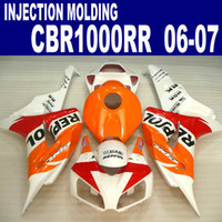 Wholesale Orange White Motorcycle Fairings - Injection molding freeship motorcycle fairing kit for HONDA 2006 2007 CBR1000RR 06 07 CBR 1000 RR white orange REPSOL fairings set VV36