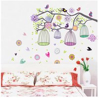 Wholesale Bird Cage Bedroom Stickers - New arrivel Children like Colorful Tree & Bird Cage Decorative Kids room Wall Sticker for children bedroom