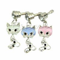 Wholesale Iphone Fox Anti Dust Plug - Wholesale-Free Shipping 3.5mm Fox Crystal Anti Dust Earphone Plug Cover Stopper Cap For iPhone 6 Samsung