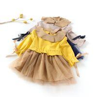 Wholesale Lace Baby Doll Dress - Baby girls gauze princess dress children doll collar falbala tulle tutu dress autumn kids lace-up Bows flare sleeve pleated dress R1210