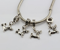 Wholesale Dachshunds Charms - Hot ! 150pcs Antiqued Silver Dachshund Dog Dangle Bead fits European Charm Bracelets 26.5 mm x 14 mm DIY Jewelry