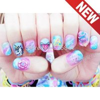 Wholesale watermark nails - 180 patterns lot new Practical Japanese harajuku nail stickers color watermark stickers & Decals DIY OEM free shipping wholesale