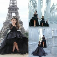 3t festzug kleider großhandel-2016 Schwarz High Low Mädchen Festzug Kleider Sheer Long Sleeves Ballkleid Bogen Mutter Und Tochter Prom Party Kleider Kinder Baby Abendkleider