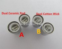 Wholesale Dct Glass - In Stock!!! Dual wax coils for cannon vaporizer atomizer double coil DCT Cax oil Ceramic rod Cotton wax Glass vase Skull Bowling cartomizer