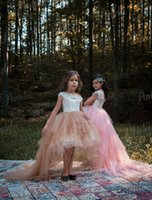 3f67824b3b Custom Made Country Flower Girls Dresses Pink Puffy Tulle White Lace Beaded  Capped 2017 Cheap Baby Child Birthday Party Girls Pageant Dress