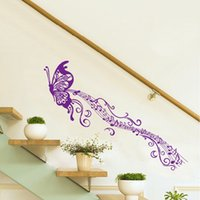 Wholesale Musical Butterfly Wall Vinyl - DIY Home Decoration Romantic Butterfly Musical Notes Purple Wall Sticke Stickers Art Decor Mural Decal Rooms Sticker Wallpaper