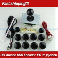 zéro délai achat en gros de-New White Arcade DIY Accessorie Zero Delay USB ENCODER + Chine PUSH BUTTONS + Chine JOYSTICK pour MAME Fight Stick Controls
