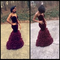 Wholesale Strapless Organza Dresses For Party - New Arrival African Velvet Burgundy Mermaid Prom Dresses 2016 Floor Length Sweetheart Organza Ruffles Party Dress For Graduation