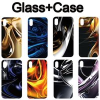 Wholesale I Phone Back Covers - For iphone X i phone 7 iphone 8 6s Plus Tempered Glass Back Cover Soft TPU Edge Shockproof iphone X Case Black DHL