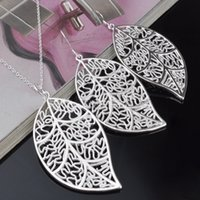 Wholesale East Indian Jewelry Earrings - Top Grade Silver Jewelry Sets New Fashion Earrings and Pendants Necklaces Set for Women Girl Party Gift Wholesale Free Shipping 0013YXD