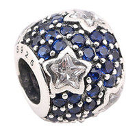 Baby's Breath Design Pave Disco Ball Beads Crystal Blue Cubic Zirconia Fit Pandora Charms 925 Sterling Silver Loose Beads PX0018-1