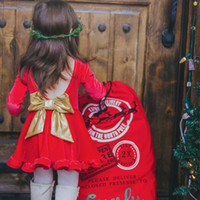 Wholesale Dress Chidren - Christmas Dress for girls Red backless Big bow Sexy cute pleuche Dresses Children clothing Chidren New Year clothing 2017 Ins