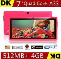 Горячий Allwinner A33 Quad Core Q88 Tablet PC Двойная камера Фонарик 7Inch емкостный экран Android 4.4 512 МБ 4 ГБ Wifi Google play stor TA84