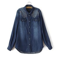 Wholesale Denim Rhinestone Shirt - 2014 women's autumn fashion rhinestones denim long-sleeve shirt casual double pocket shirt female