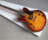 Wholesale Jazz Guitar Sale Wood - Hot Sale F Semi Hollow Red Yellow Jazz Electric Guitar 6 Strings Guitars Have Hard Case