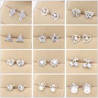 Wholesale Cheap Ladies Rings - Set Rhinestone Studs New Lady Style Earrings Beautiful shapes Heart Flower Multistyle Multicolor Rings Eardrop Cheap Mix Order