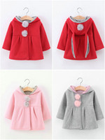 Wholesale Cute Rabbit Wearing Clothes - Korean Baby Girls Boys Cute Rabbit ear Cotton Boutique Clothing Hoodies Sweatshirt Children Clothes Kids Clothing Baby Wear