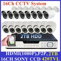 Wholesale Dvr Ch Recorder Hdmi - HDMI 16 Ch IR Surveillance CCTV Camera Kit 8 Indoor & 8 Outdoor Home Security 16ch Network DVR Video Recorder Systems+2TB HDD