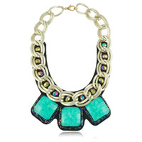 Wholesale Exaggerated Bib Necklace - European Chunky Gold Plated Chain Exaggerated Square Resin Gem Statement Bib Necklace For Women