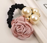 Wholesale Hair Band Diamond Pearls - new fashion women summer style hair accessories handmade rose big pearl hair bands gum for hair acessorios para cabelo