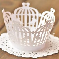 Wholesale White Bird Cage Decoration - Promotion free shipping 120pcs White Bird cage Laser cut Lace Cup Cake Wrapper Cupcake Wrapper for Birthday baby shower Party Decoration