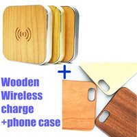 Wholesale Bamboo Iphone Skin - Natural Wood Wooden wireless Cases Anti-scratches Genuine Bamboo Phone Back Skin Covers For Iphone 5 5s 6 6s 6plus with Qi Wireless Charger