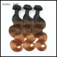 Wholesale 6a ombre hair weave online - Ombre Hair Extensions Three Tone B A Ombre Brazilian Peruvian Malaysian Indian Body Wave Virgin Remy Human Hair Weave Bundles