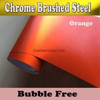 Wholesale vinyl aluminium - Premium Orange Brushed Chrome Aluminium Vinyl Car Wrapping Vinyl Air Release Chrome brushed steel wrap film Car stickers Size 1.52x20m Roll