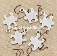 Wholesale Making Jigsaw Puzzles - 200pcs Antique Silver Puzzle Piece Jigsaw Charms pendant For Jewelry Making Findings 18x14mm