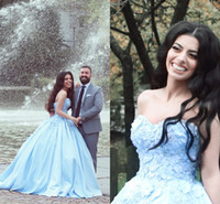 Wholesale White Fairy Ball Gowns - Light Sky Blue Ball Gown Prom Dresses Sweetheart Satin Plus Size Quinceanera Dresses Fairy Sweet 16 Gowns Ball Gown Dresses