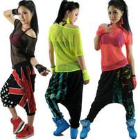 traje de jazz feminino venda por atacado-Moda de nova hip hop dança top feminino Jazz traje desempenho desgaste roupas de palco neon Sexy recorte t-shirt