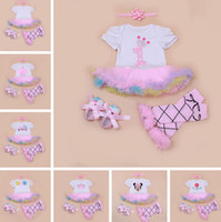 Wholesale Infant Ballet Dress - infant baby christmas romper dress 4pc set girls birthday romper & girls ballet cotton leg warmer & infant chevron walking shoes & headband