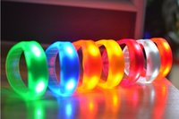 Wholesale Led Disco Music Activated Lights - Music Activated Sound Control Led Flashing Bracelet Light Up Bangle Wristband Night Club Activity Party Bar Disco Cheer fast shipping