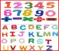 Wholesale letters wooden fridge - 2460PCS lot Fedex Ship New 26 English Character + 15 Number (41pcs lot) Funky Fun Colorful Magnetic Numbers Letters Wooden Fridge Magnets