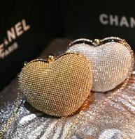 Wholesale Evening Party Cute - Cute Heart Style Evening Bags Shining Crystal Rhinestone Bridal Clutch Wedding Party Bags 2015 Fashion Popular Bridesmaid Handbags Cheap