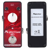 Wholesale Guitar Effect Compressor - Hot Sale Mighty Sound M7 Mini Portable Compressor Effect Pedal for Electric Guitar with LED Indicator True Bypass I1635