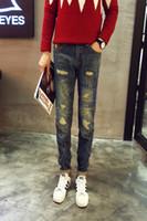 Wholesale Korean Printed Pants - Seiko Korean version of the influx of men Slim hole beam leg jeans feet pants adolescent male skeleton head printing