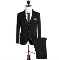 Wholesale 48 Suit Size - (Jacket+Vest+Pants+Tie) Men Black Tuxedo Suit Plus Size Classic Slim Fit Bridegroom Wedding Suits For Men