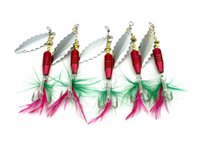 Wholesale sequin fishing lures for sale - Group buy Bionic Metal Jigs Spinner baits fishing hooks with Feather cm g Aolly rion Spinnerbaits Lures Cast metal Sequins crankbaits