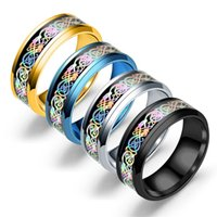 Wholesale rainbow titanium jewelry for sale - 2017 Stainless Steel Rings Silver Rainbow carved dragon piece Totem Band Rings For men women s Fashion Titanium steel Jewelry