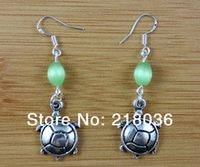 10 pares de moda grátis Antique Antique Silver TurtleOpal Bead Charms Vintage Dangle Earrings 925 para mulheres DIY Jóias N1653