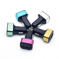 Wholesale Abs Charger - Square Color Block Aluminum Alloy + ABS Fashion Car Charger 3 USB Port Universal 2.1A Charging Adapter For iP X 8 7 Samsung